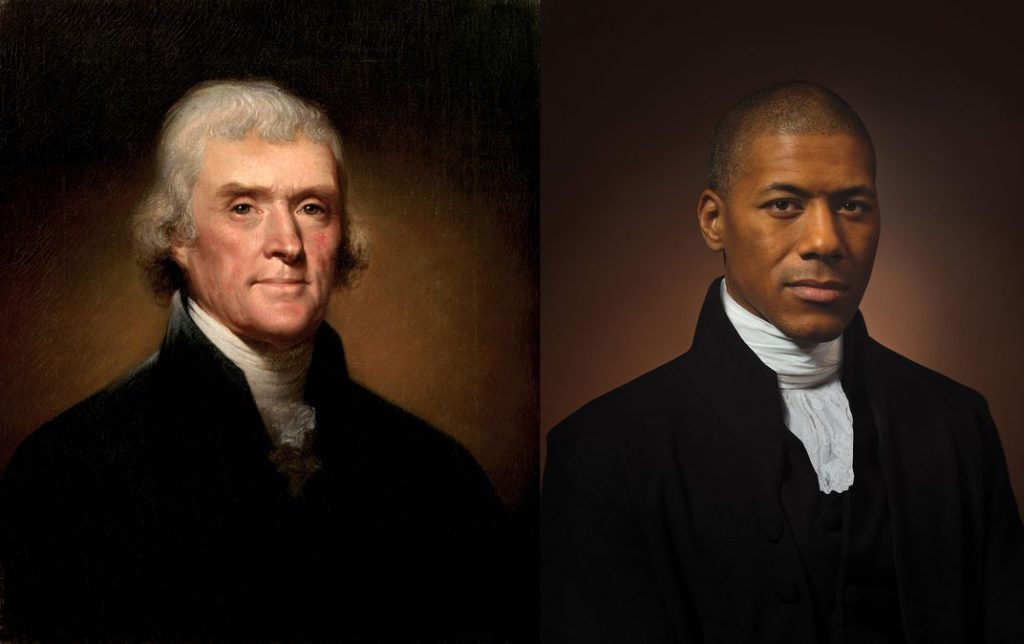 A portrait of Thomas Jefferson pictured next to his sixth-generation grandson, African-American Shannon Lanier., who is dressed and posed similarly